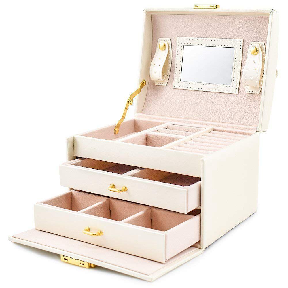 Caso / scatole per gioielli / scatola di trucco, gioielli e cosmetici Beauty Case con 2 cassetti 3 strati