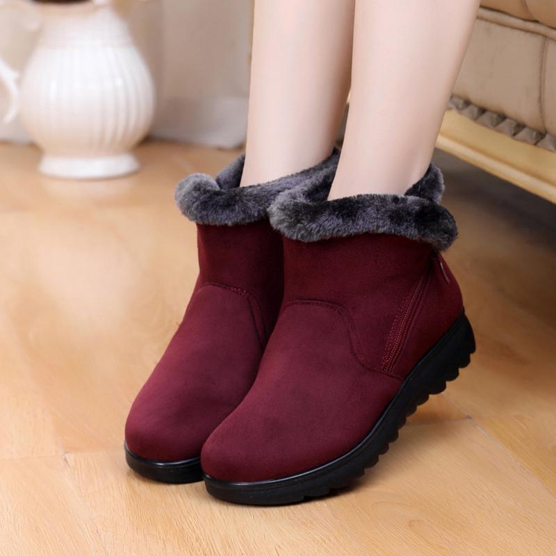 2019 Female Fashion Zip Winter Snow Boots Ladies Warm Fur Suede Wedge Ankle Boot Women plus size 35-43 woman shoes Y200115