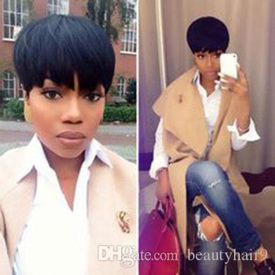 nuevos bellas damas encantadoras peinado peluca corta recta corta peluca naturales africano Ameri brasileña Simulación de pelo de cabello humano negro