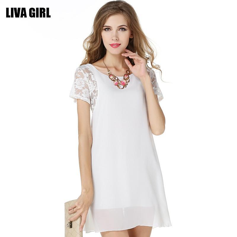 De mangas curtas senhoras vestido de verão 2020 rendas nova bordados de mangas curtas mini-sexy jupe costura chiffon mini vestido