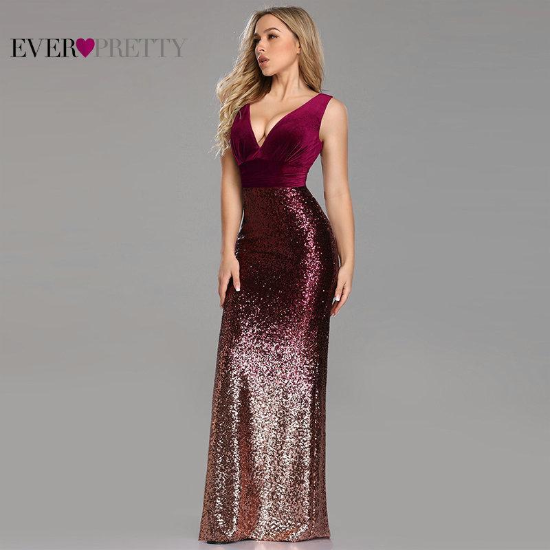 Robe De Soiree Sempre Bonita Ez07767 Novo Sexy Com Decote Em V Sem Mangas Sereia Borgonha Longos Vestidos de Noite Elegante
