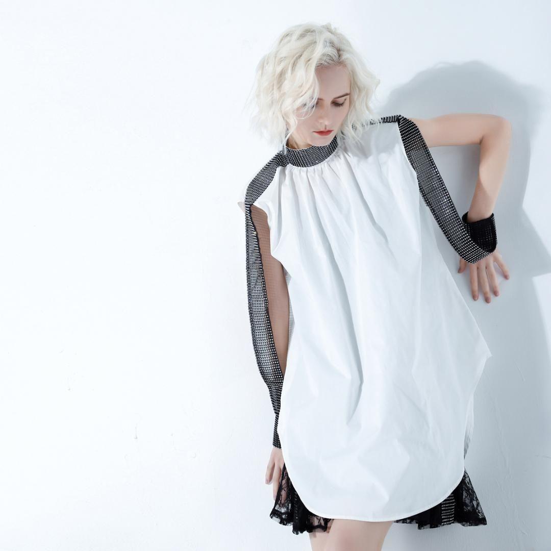 Johnature Fashion Summer Dresses High Street Crystal Sleeveless Turtleneck Loose Comfortable Solid Color Women Shirt Dress