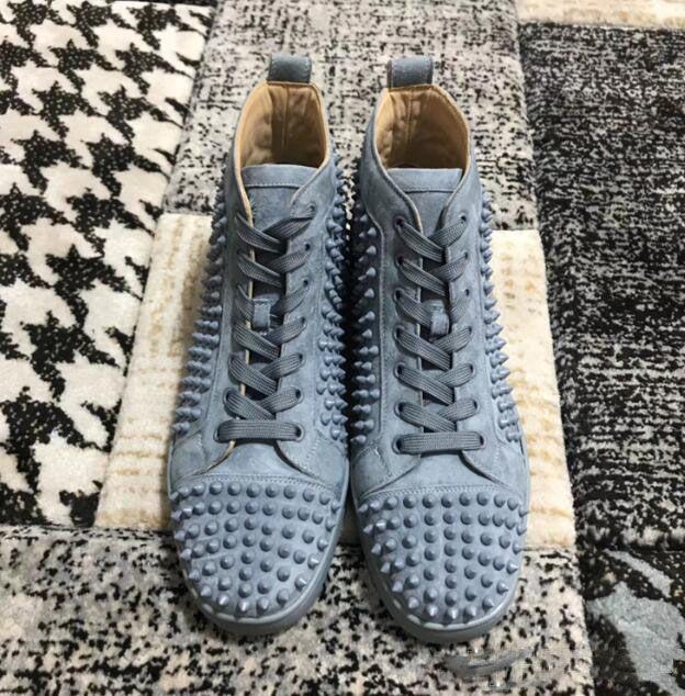 Tasarımcı Spike Sneakers Ayakkabı Yüksek Üst Adam Marka Moda Çift Toz Torbası Ile Rahat Yürüyüş Eğlence Daireler
