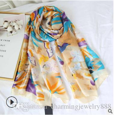 Wholesale!180*90cm Long Scarves For Women Beautiful Fashion Designer Scarfs And Shawls Wraps Hijabs Pashmina Satin Scarves Female Lady's Muf