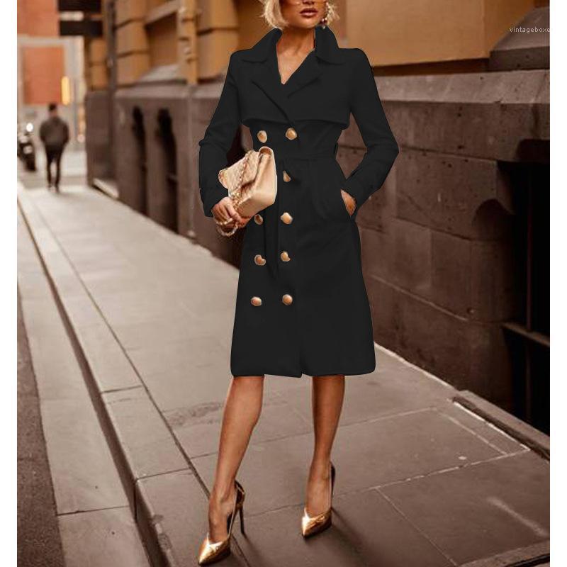 Blazers Manteau à double boutonnage costumes Slim manches longues Femme Vêtements Automne Hiver nouvelles femmes Designer longue