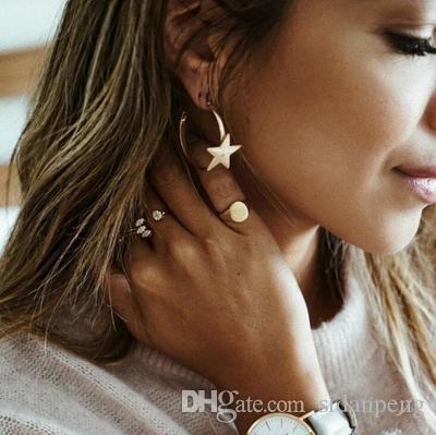 2019 unique boucles d'oreilles en métal à la mode or argenté étoile à cinq branches ronde déclaration boucles d'oreilles pour les femmes nouvelle arrivée mode Dropion Drop bijoux