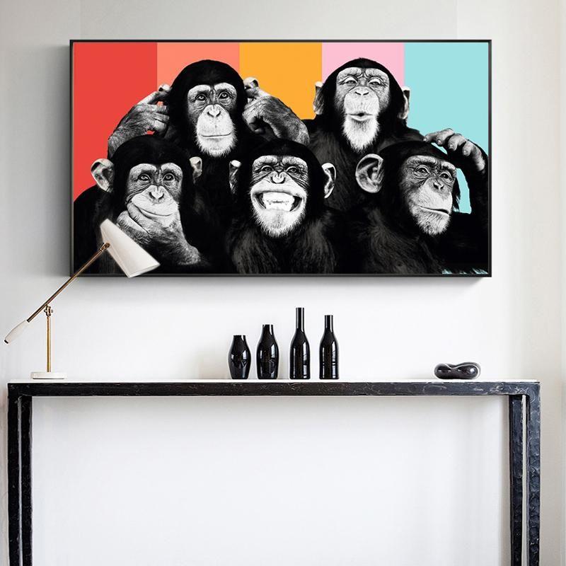 Duvar Afiş ve Baskılar Modern Hayvanlar Wall Art Canvas Resimleri Çocuk Odası Dekor üzerinde komik Maymunlar Grafiti Tuval Tablolar