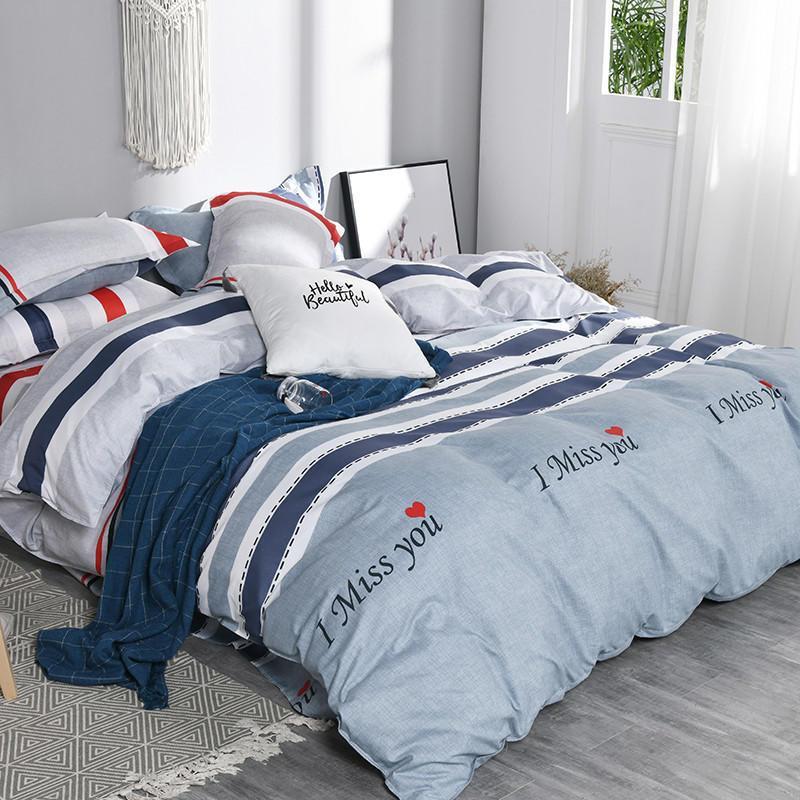 Estilo Nórdico de algodón liso pieza de cuatro Llanura cubierta del edredón de la hoja de cama de lino de cama compartida juego de 4 piezas