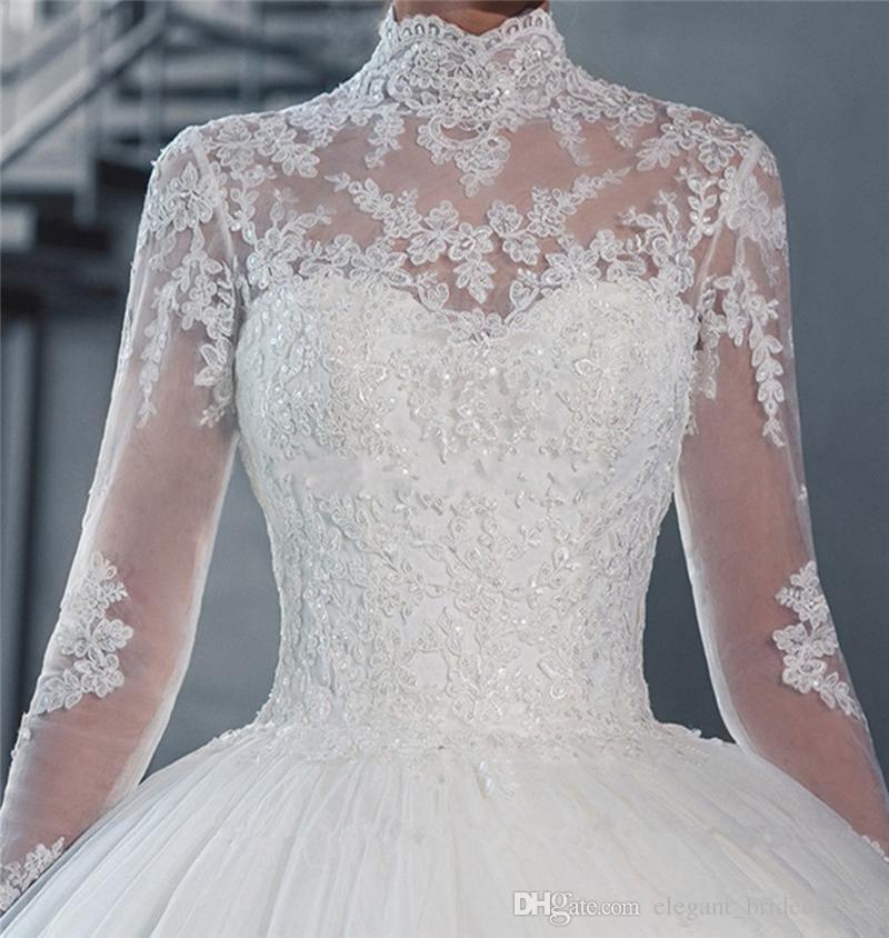 2019 Alto Cuello Sheer Mangas largas Vestido de bola de encaje Vestidos de novia Vintage Applique Lace Tul Vestidos de novia Vestidos de Noiva Hecho a medida