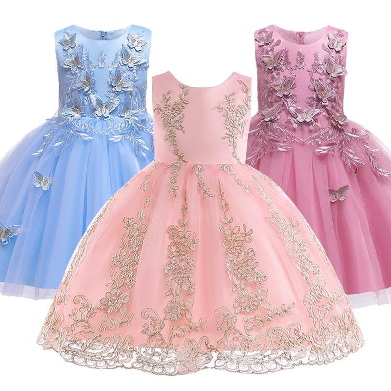 Vente chaude 2019 robe d'été fille robe de mariée princesse fille brodée anniversaire Appliqué Robes de soirée pour enfants de Noël Robes Y200102