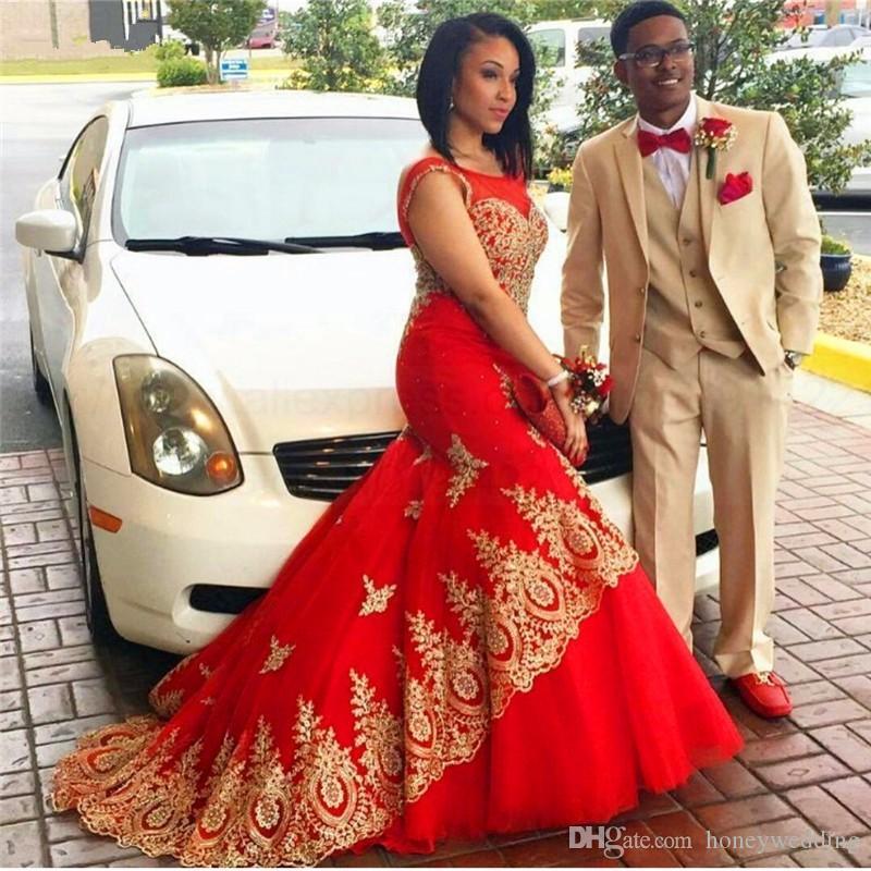 2020 горячие продажи вечерние платья совок золотые аппликации красное платье выпускного вечера русалка развертки поезд события вечернее платье