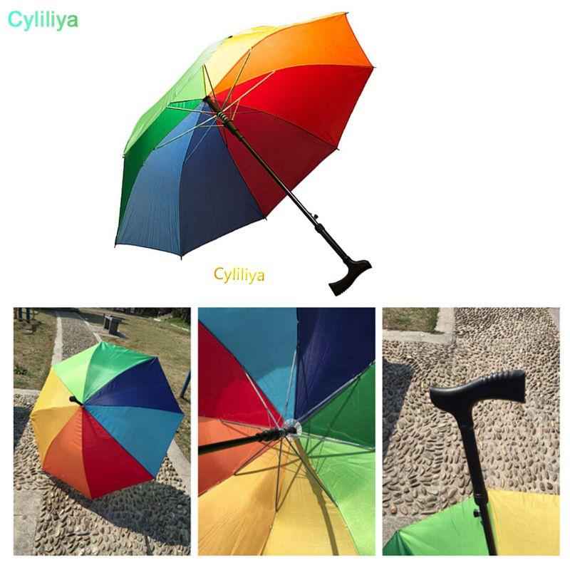 2 في 1 العكاز مظلة تسلق المشي لمسافات طويلة المشي عصا المظلات وطويل مقبض في الهواء الطلق صامد للريح المضادة للأشعة فوق البنفسجية مظلة RainSun