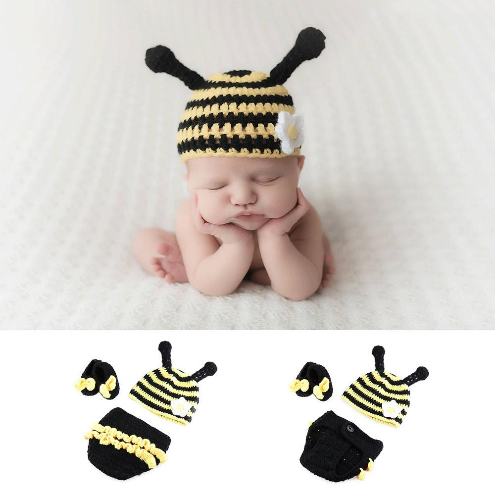 Newborn Baby Crochet Knit Costume Prop Outfits Photo Photography Baby Hat Bee Baby girls Outfits