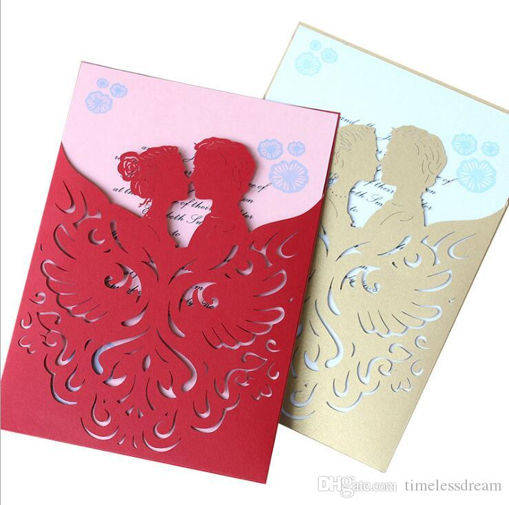 High Garde Creative Wedding Invitation Card Laser Cut Hollow Out Cover Party Invites With Envelope For Engagement Wedding Cards Birthday Greeting