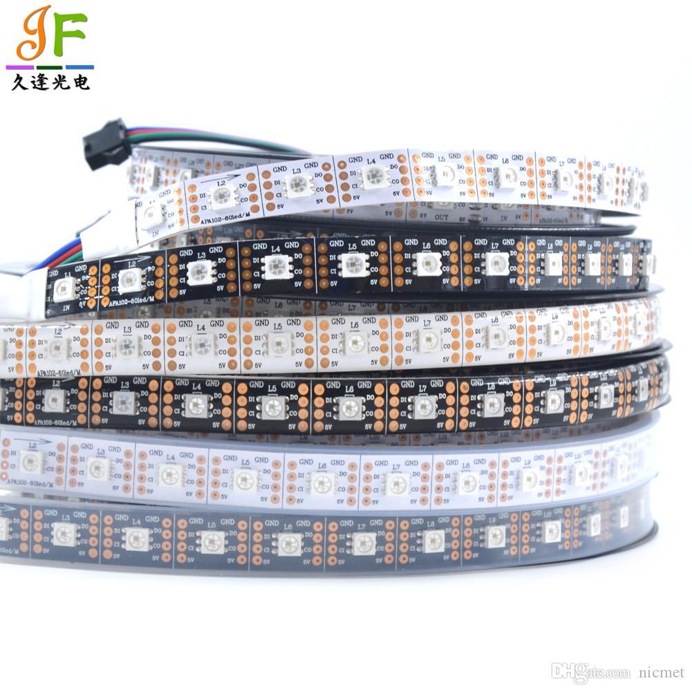 1M / 5M APA102-C SK9822 Tira de LED 30 60 144 leds / M 5050 RGB Color de sueño direccionable a todo color Tira de luz Luz 2 Señal DC5V DAT CLK GND