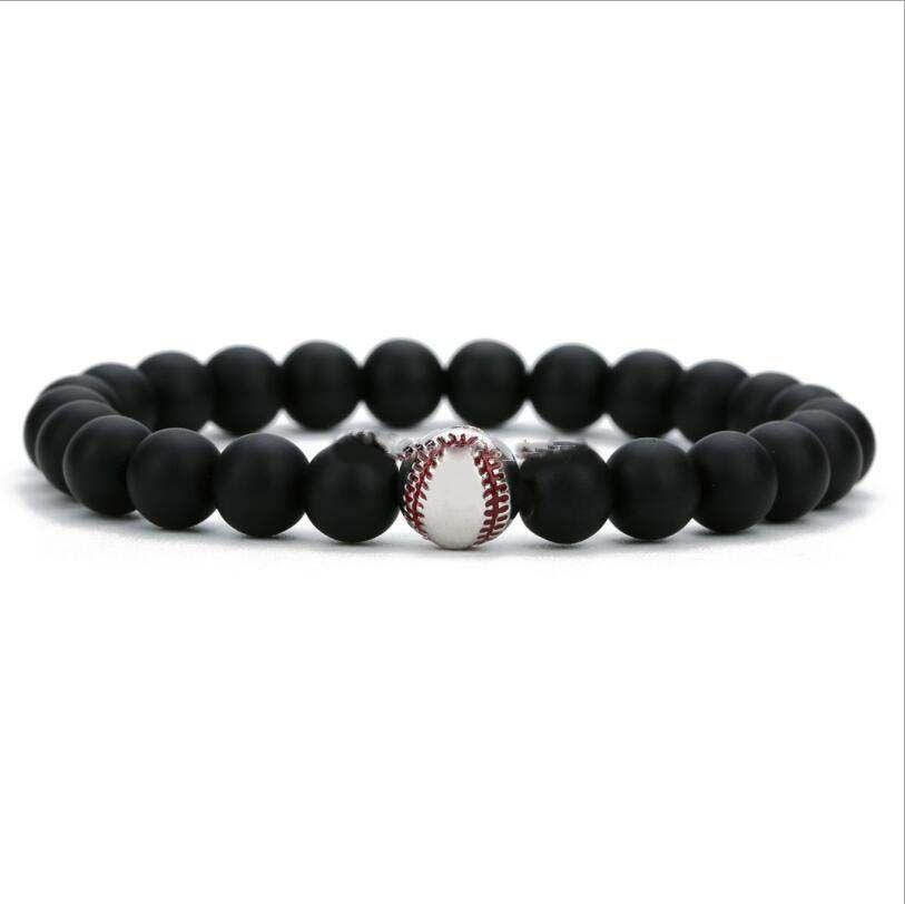 10mm De Cuivre Baseball 8mm Matted Noir Pierre Perle Bracelet Femmes Hommes Bouddha Prière Perlé Bracelet Pour Les Femmes