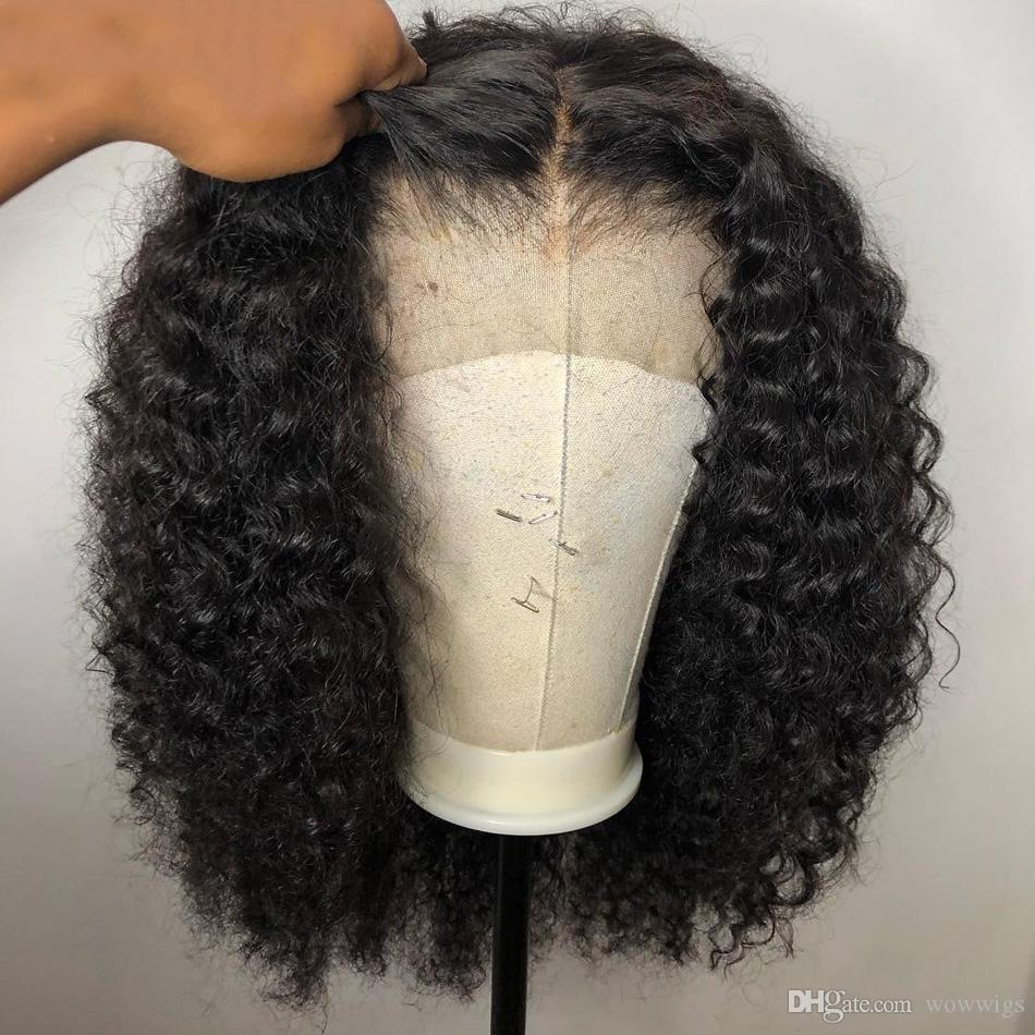 Curly 4*4 closure Wig Brazilian Short Wigs Human Hair Wigs For Black Women 130% 150% Remy preplucked baby hair bleached knots