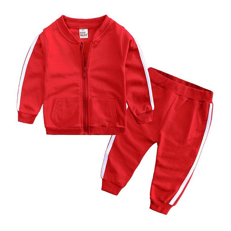 Детская спортивная одежда трексуита с длинным рукавом мальчики девушка наряды повседневная весна осень полосатый пальто брюки набор детская одежда