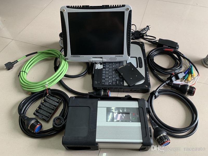 2019.05V MB Estrela SD C5 com Laptop CF-19 Toughbook touch screen 4G pronto para trabalhar para Mercedes ferramenta de diagnóstico estrela c5
