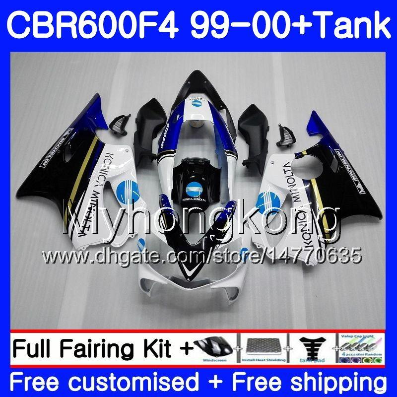 Bodys + Tank per HONDA CBR 600 F4 FS CBR 600F4 CBR600F4 99 00 287HM.39 CBR600FS CBR600 F 4 CBR600 F4 KONICA blu caldo 1999 2000 Kit carenatura