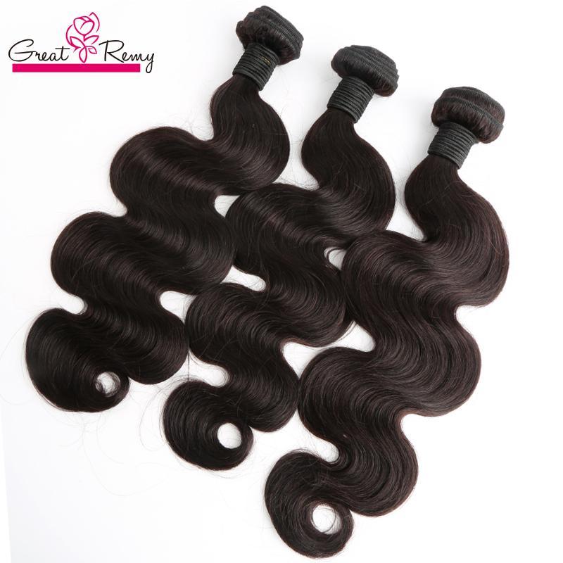 Greatremy Brasilianische Haarbündel Body Wave Wellenartige Jungfrau Hairextensions 4 teile / los Natürliche Farbe Unverarbeitete jungfräuliche menschliche Haarweffe-FEFTS