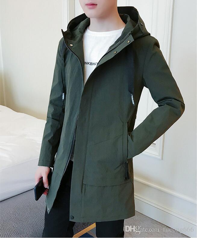 Neue Mode Herrenjacke Herren langen Mantel Männer koreanische beiläufige Art und Weise mit Kapuze Herbst Windjacke Trend Größe