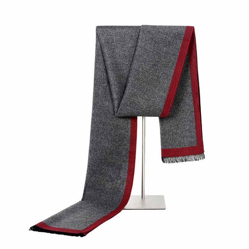 Mantieqingway écharpe d'affaires formel pour les hommes d'hiver et d'automne cachemire longues écharpes Hommes Gris / Noir Echarpes Tassel Châles