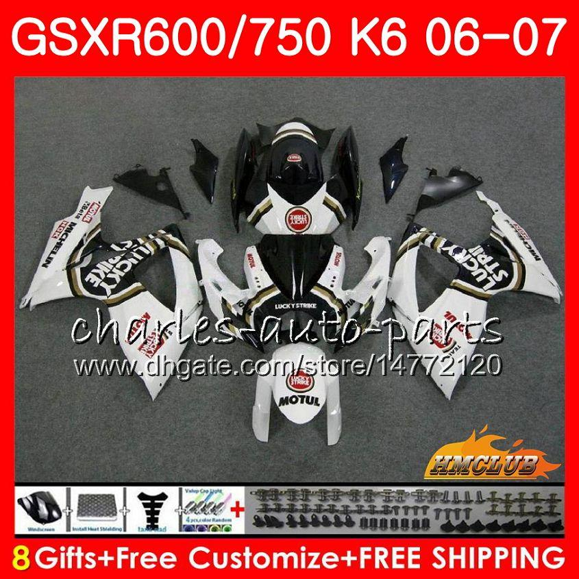 Corps pour SUZUKI GSX R600 GSX-R750 GSXR-600 Blanc chanceux HOT GSXR600 06-07 8HC.59 GSX R750 GSXR 600 750 06 07 K6 GSXR750 2006 2007 Kit carénage