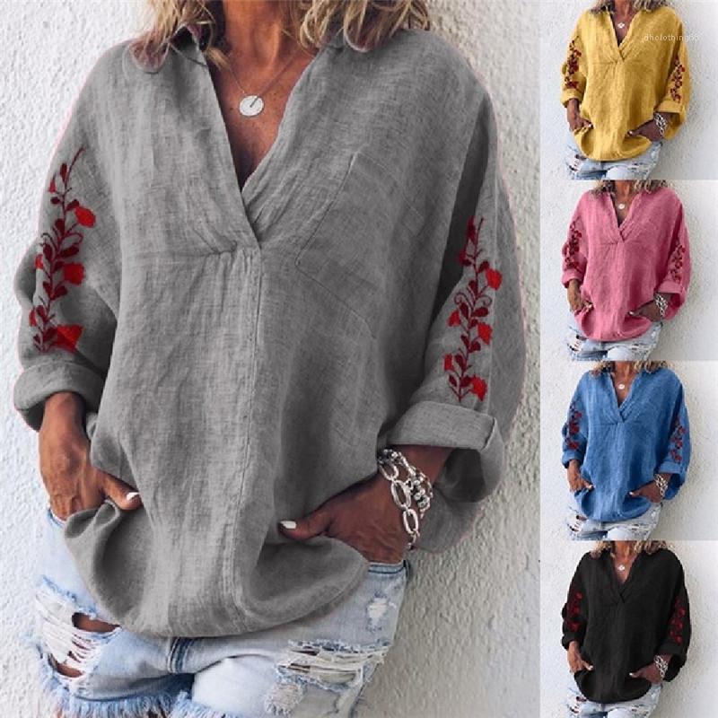 Повседневный длинным рукавом V шеи тройники женщин Сыпучие Щитовые Tshirts Мода Цветочные печати Топы Дамы