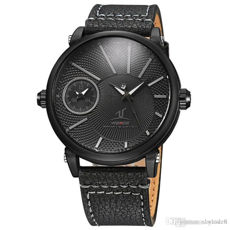 WEIDE-UV1508 Mode Big Dial Herren Leder Uhr Dual Time Zone Casual Business Watch 30 Mt Wasserdichte Sportuhr Großhandel