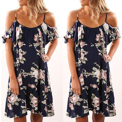 Moda Plus Size Kadınlar Vintage Boho Uzun Maxi Çiçek Şifon Elbise Seksi Parti Kapalı Omuz Yelek Elbise Yaz Plaj Sundress