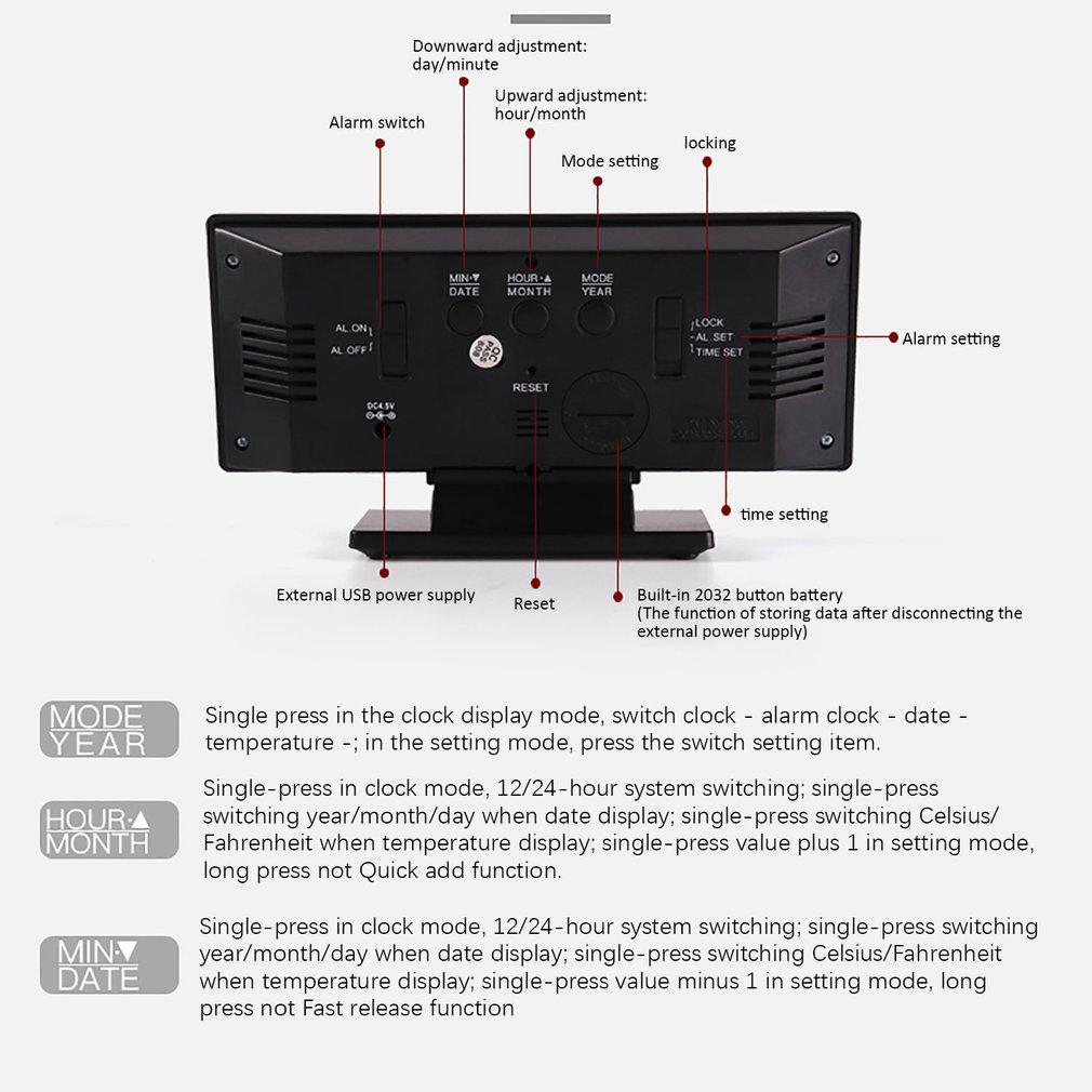 Snooze стол цифровой будильник LED Зеркало Часы Многофункциональный Snooze Дисплей Время Night LED Таблица Desktop