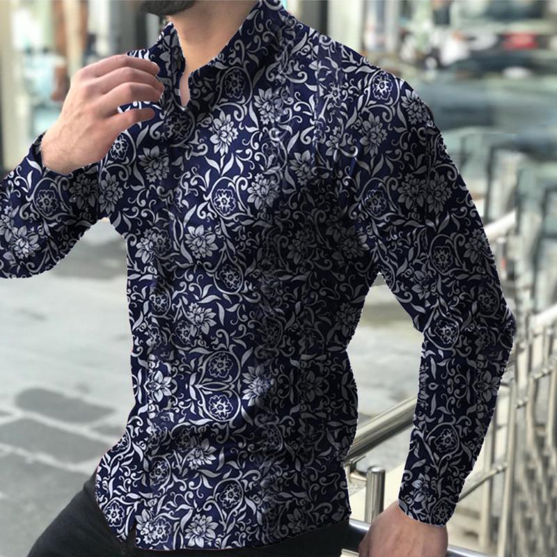 Autumna Мужчины Рубашка Топы с длинным рукавом Европа Стиль Slim Fit Shirt Мужчины Цветочные кнопки Топ Блуза Мужской Топ Camisas Hombre