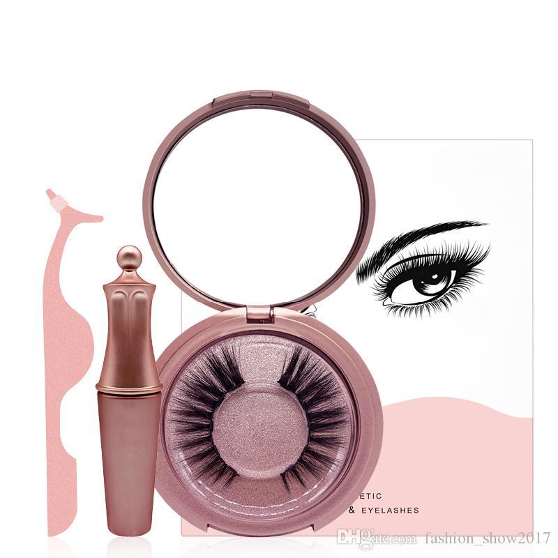 Magnetic Liquid Eyeliner & Five Magnetic False Eyelashes & Tweezer Set Magnet False Eyelashes Set Glue Free Make Up Tools