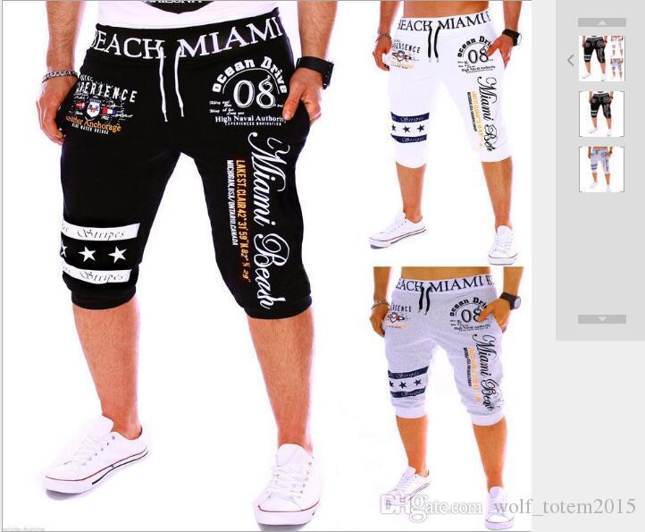 Nouveau Pantalons de sport de sept cents pour le commerce extérieur de la mode masculine Pantalons de sport de sept cents imprimés au format numérique