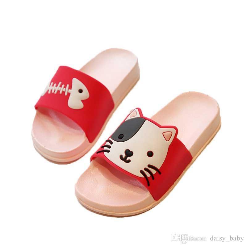 Boys Slippers 2019 Summer Kids Cartoon Beach Shoes Toddler Sandal Girls Sandals Non Slip PVC Comfortable Children Shoes Cat #18