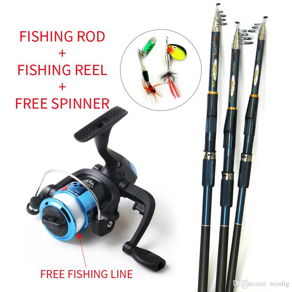 Reels New Lure Fishing Spinnrolle Fischangelrute Angelrute und Spule Carbon-FRP-Stab Ozean Rock (Lure und Linie als freies Geschenk)