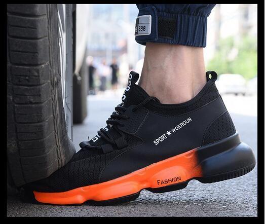 Protecção do trabalho sapatos masculinos leve suave anti-quebrando anti-perfuração confortáveis sapatos de trabalho desodorante respirável sapatos de segurança dos homens wom