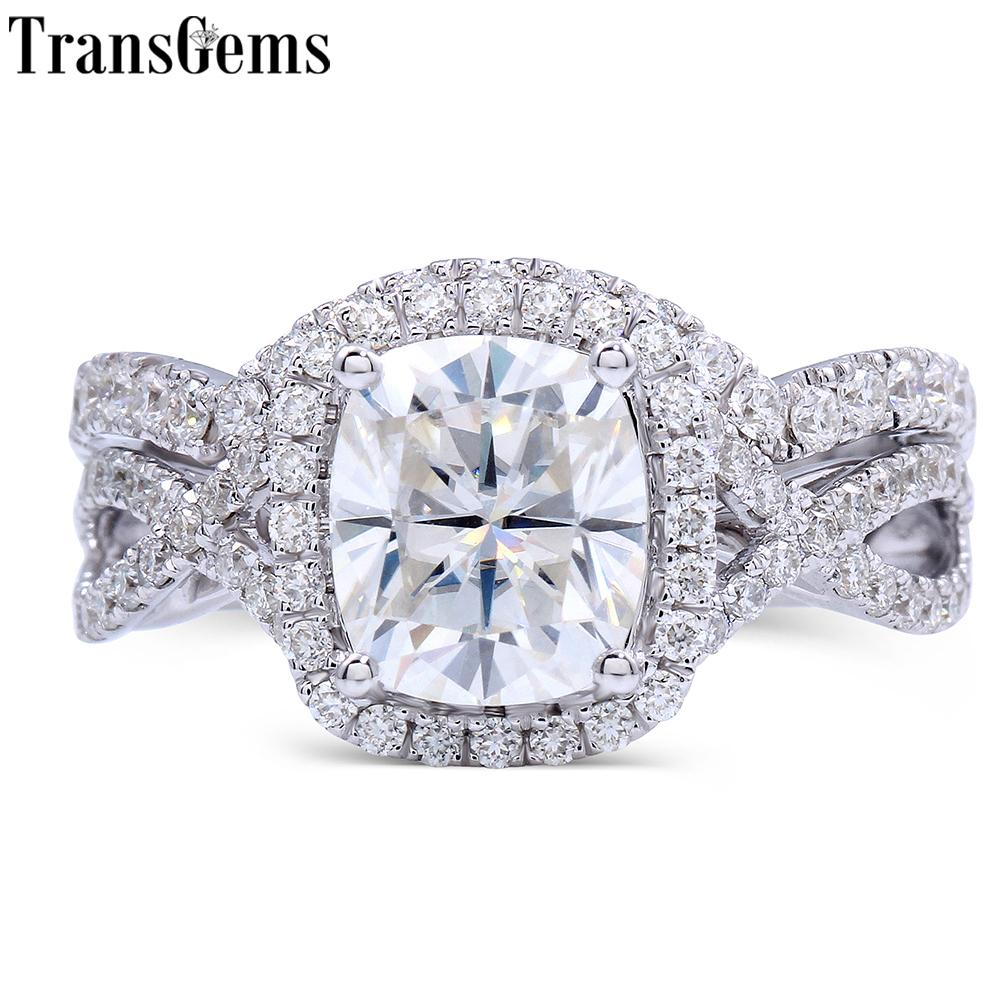 Transgems 14k White Gold Center 2ct 7x8mm Cushion Cut F Color Moissanite Diamond Engagement Bridal Ring Set For Women Wedding Y19032201
