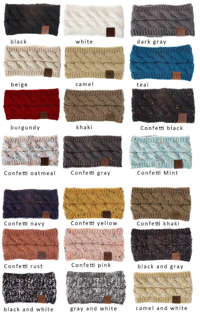 CC Hairband Fios de Algodão colorido torção de malha Crochet Ear Headband Mulher do inverno Warmer faixa elástica cabelo Acessórios Ampla cabelo