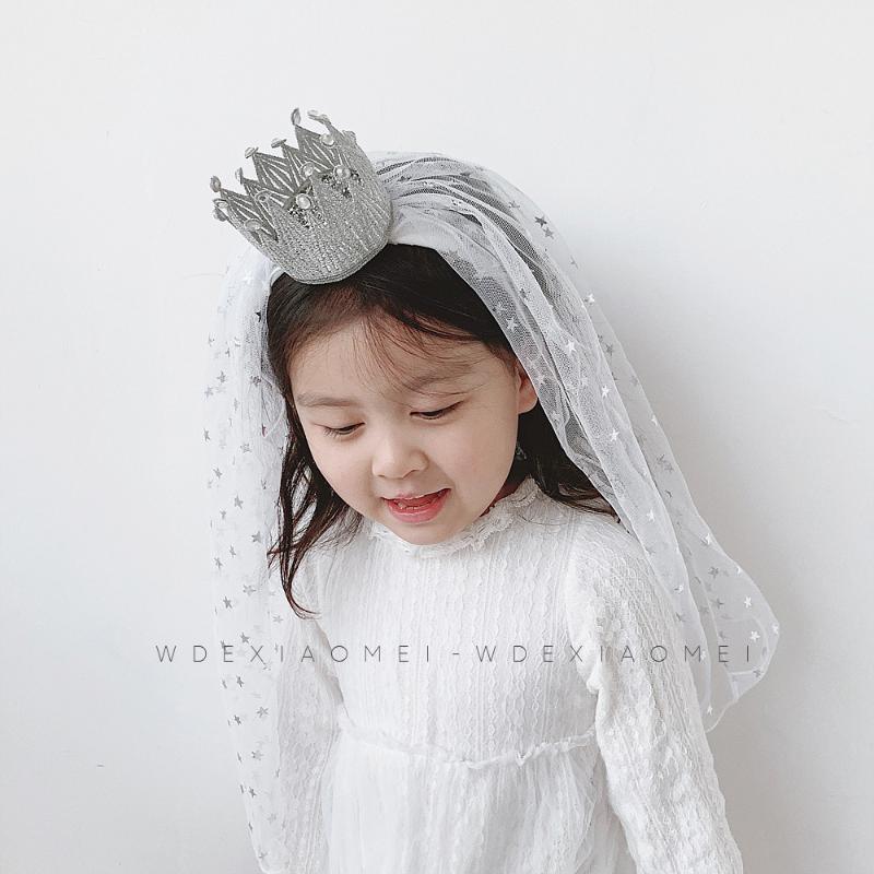 Fascinator Tiara Hair Accessories Veil Shiny Stars Tulle Crown headband HairBands Wedding Party Veils Headwear for Child Girls