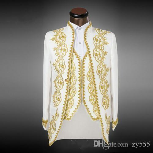 Luxury White Slim Fit Groom Tuxedos With Golden Embroidery Double Breasted Formal Suits Classic Bridegroom Wedding Suits (Jacket+Pants+Vest