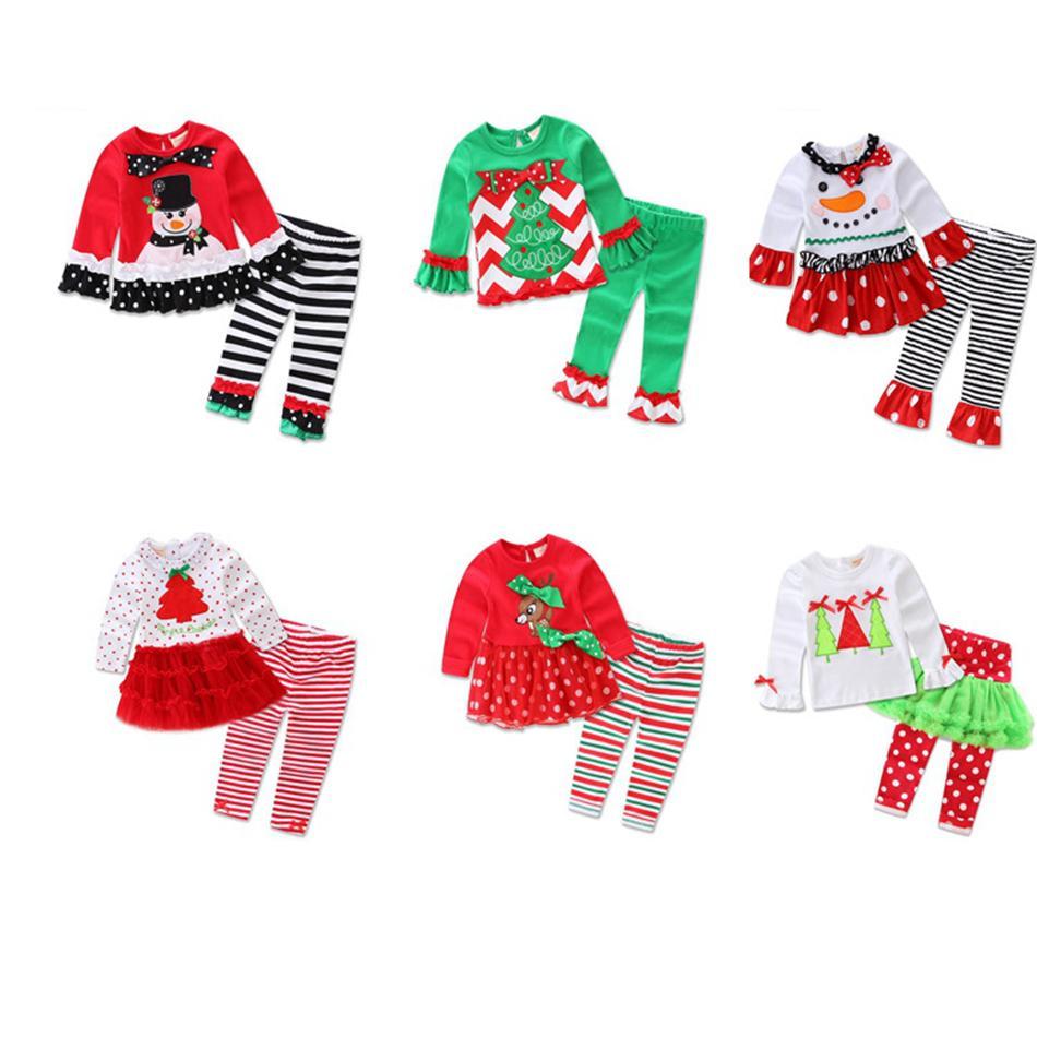 Christmas Baby vestito a strisce di fumetto del bambino Top Pantaloni Xmas autunno Payamas Outfits Ragazzi Bambina casa abbigliamento Sleepwear Pajamas LJJA3354-3