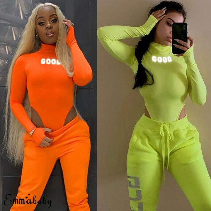Seksi Kadın Uzun Kollu Yeşil Plausuits Sonbahar İnce Jumpsuit Moda Yansıtıcı Letter 2019 tulum Uzun Kollu Bodysuit yazdır