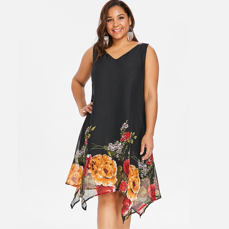 Wipalo Frauen Vintage Plus Größe 5xl V-Ausschnitt Blumendruck Boho Beach Chiffon Kleid Sommer Sexy Sleeveless Lose Tank Kleid Vestidos SH190706