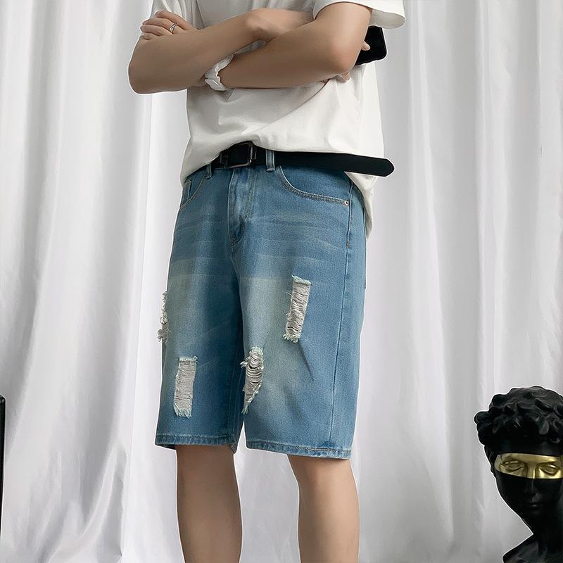 0Z0pV gerade trendy Jeans-Shorts für Männer trendy Neun beiläufige lose Sommer geerntete Hosen Größe riss beiläufige Hosen