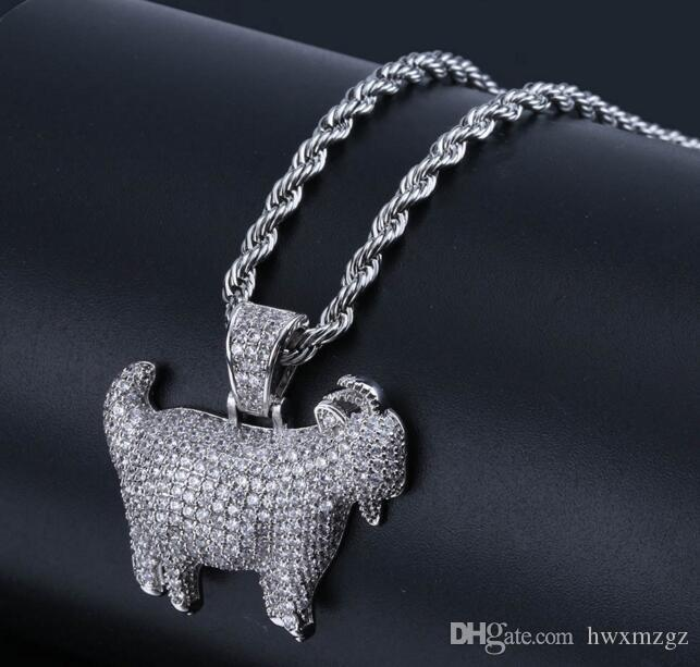 Men's 18K Gold Plated hip hop personality hipster pendants goat Lad Diamond necklace