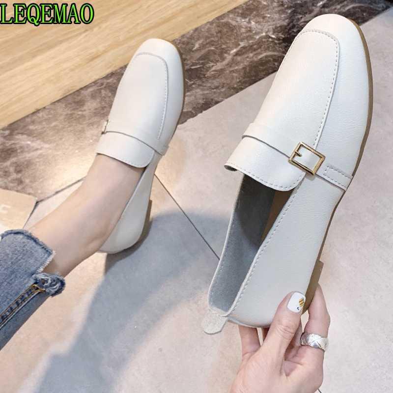 Frauen Schuhe Flache Schuhe Flache Größe Slip Wohnungen Leder Sapato Frauen Müßiggänger auf Oxford Weiches Feminino Ballett plus dsxjp