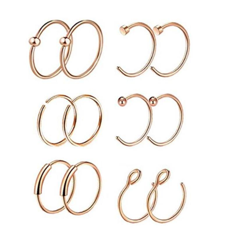 12pcs/set Rose Gold Color Stainless Steel Nose Ring Open Hoop Piercing Cartilage Body Piercing Nose Studs for Women Men Jewelry