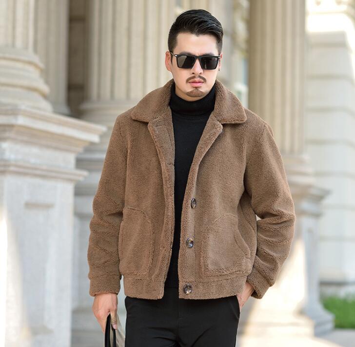 Autumn Sahte vizon deri ceket sıcak kürk deri ceket erkek kalınlaştırmak kahverengi kış mens ince ceketler jaqueta de Couro moda 966